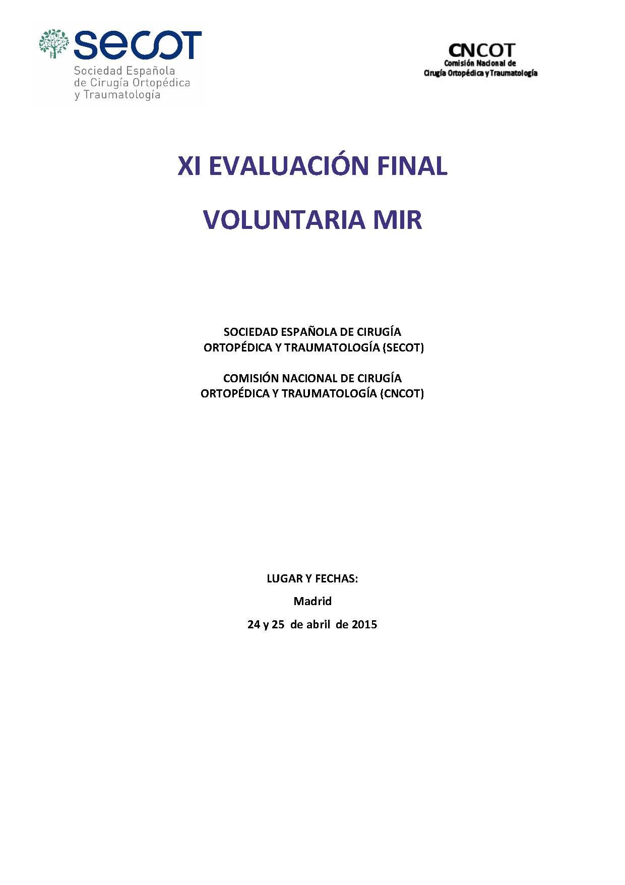 XI Evaluación Final MIR